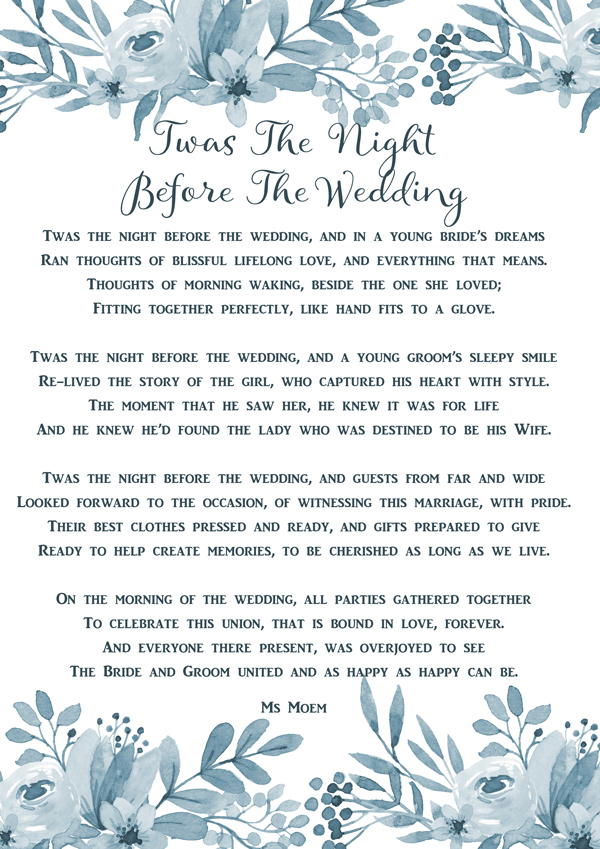 Twas The Night Before The Wedding - a wedding poem by English poet Ms Moem @msmoem