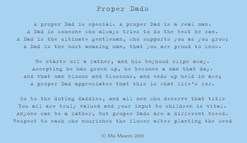 Proper Dads | A Poem By Ms Moem