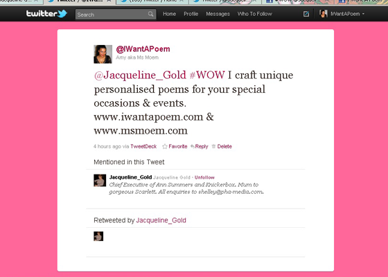 Jacqueline Gold chose me as one of her #WOW Women On Wednesday