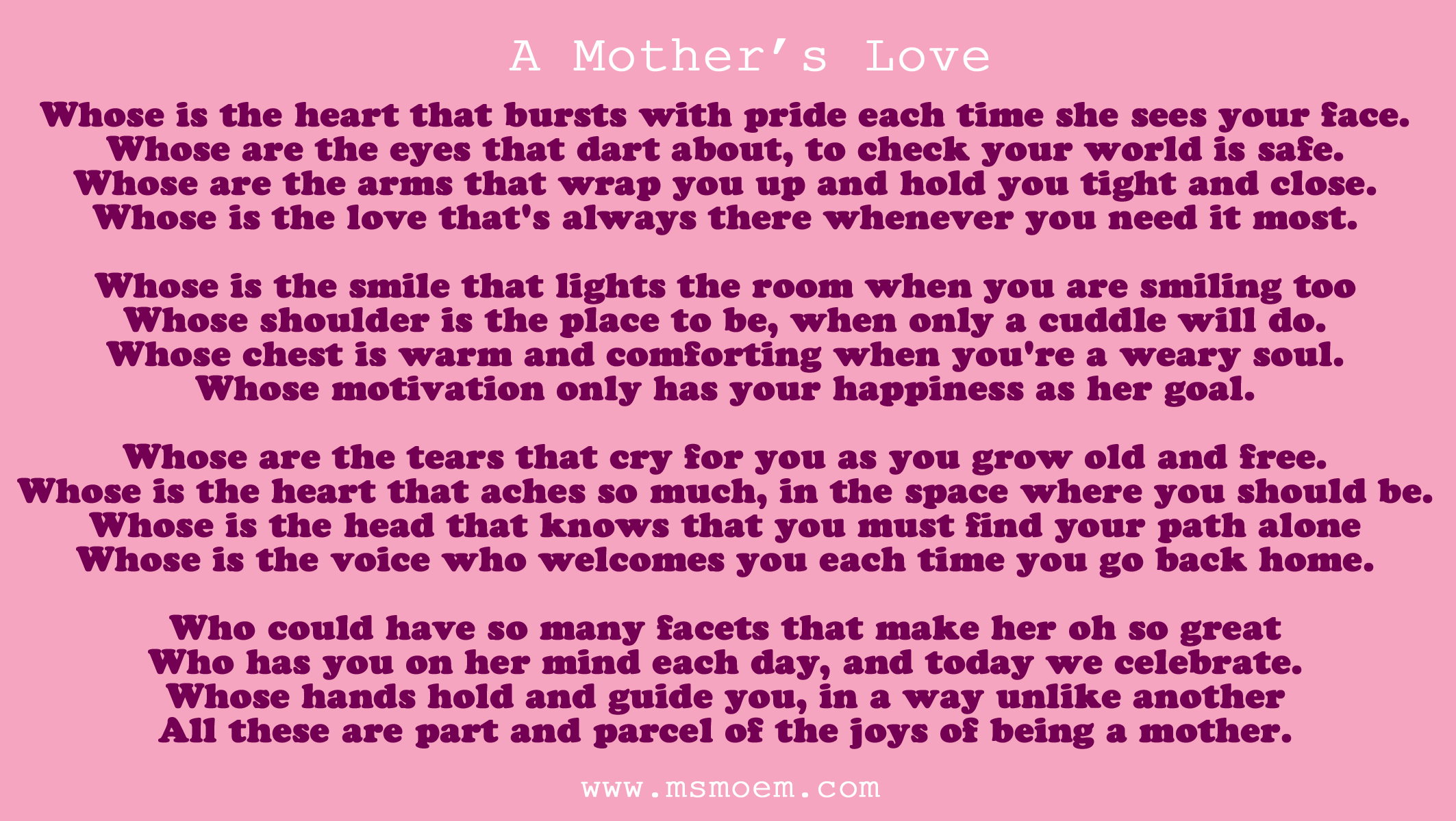 Missing Mother Poem http://msmoem.com/2012/poetry-2/mothers-day-poem-a-mothers-love-by-ms-moem/