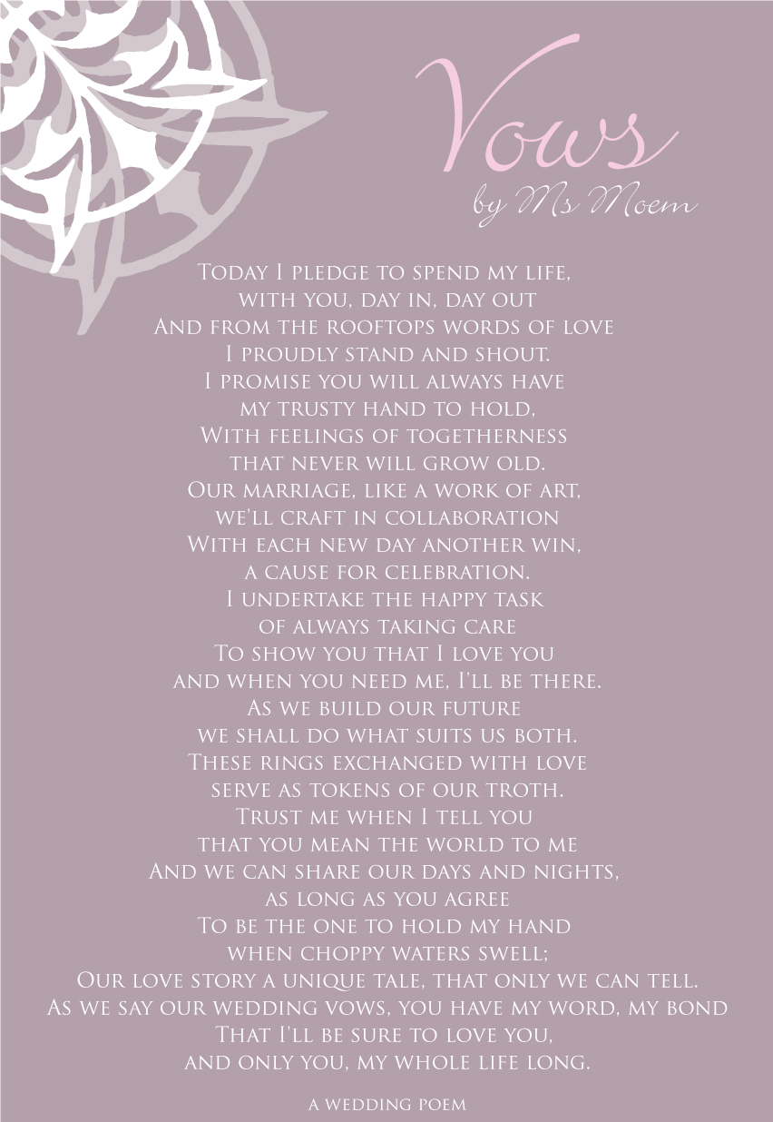 Vows A Wedding Poem