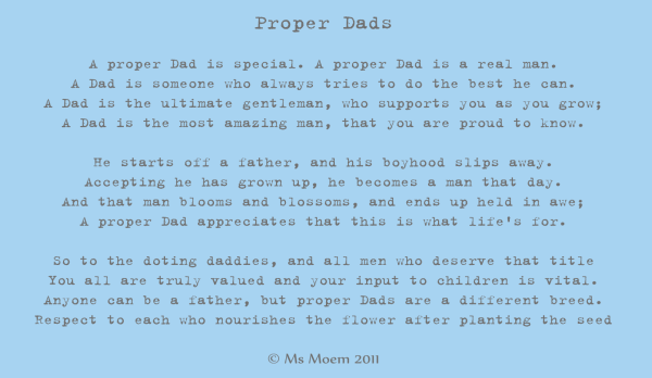 Proper Dads | Poem By Ms Moem For Fathers Day