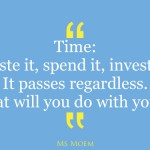 Time quote - waste it, spend it, invest it, it passes by regardless | ms moem