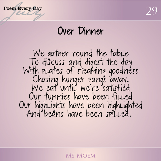 a poem about dinner | daily poem project day 29 | ms moem