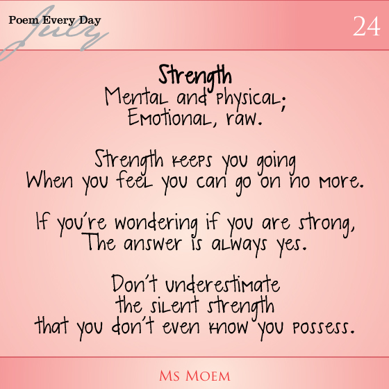 poem about strength | daily poem project day 23 | ms moem