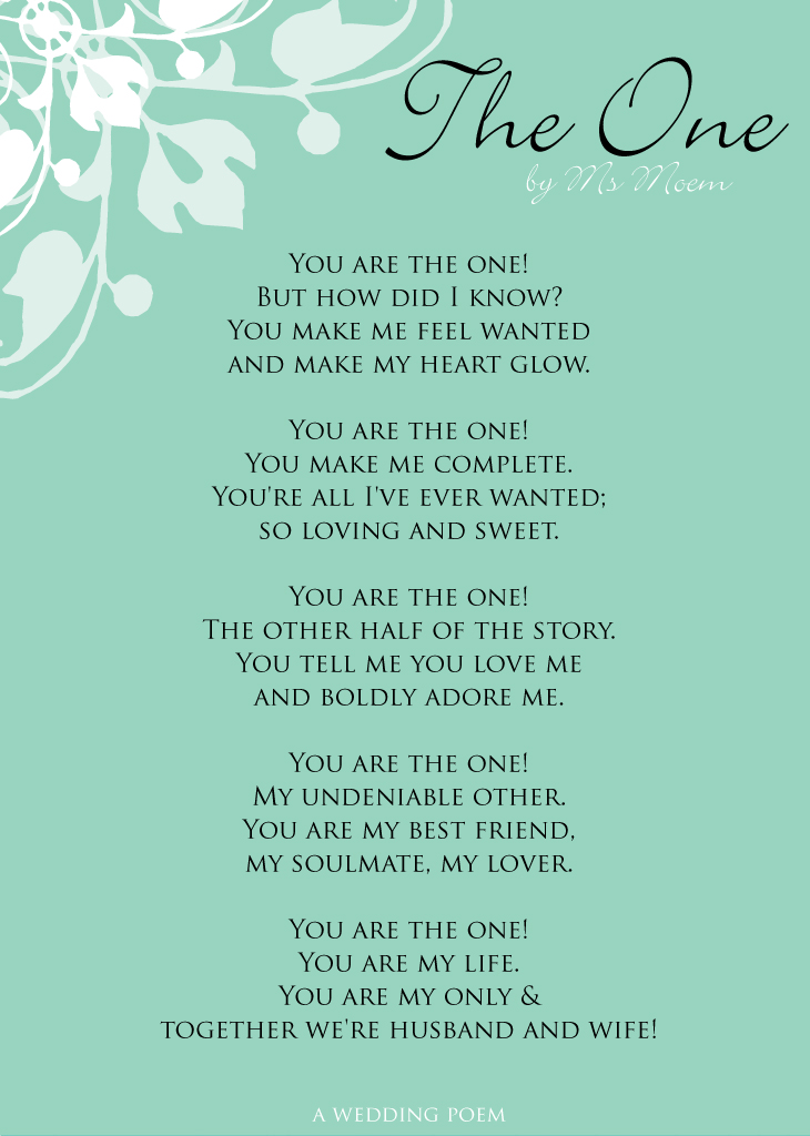 The One Wedding Poem By Ms Moem