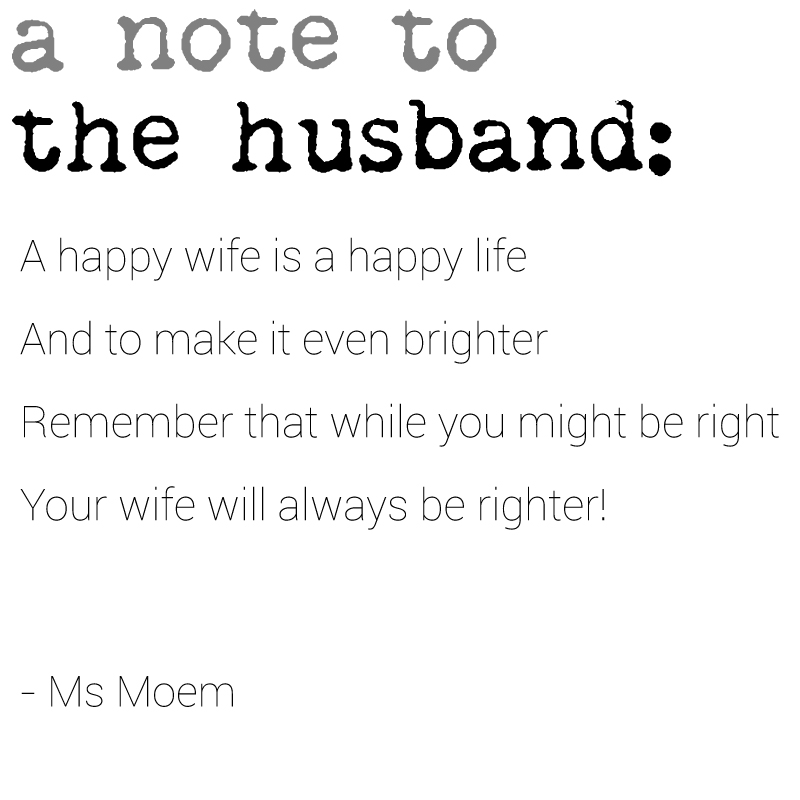note to the husband short poem by ms moem - national poetry day