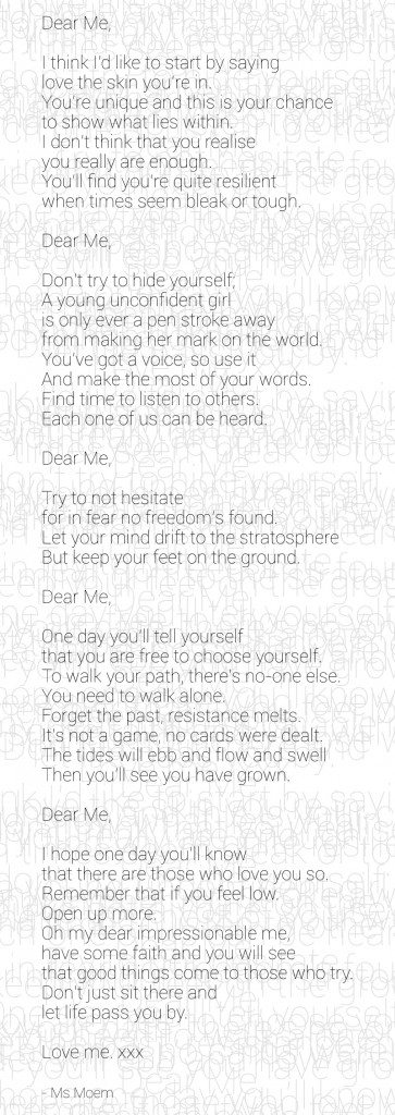 Dear Me poem by Ms Moem #DearMe