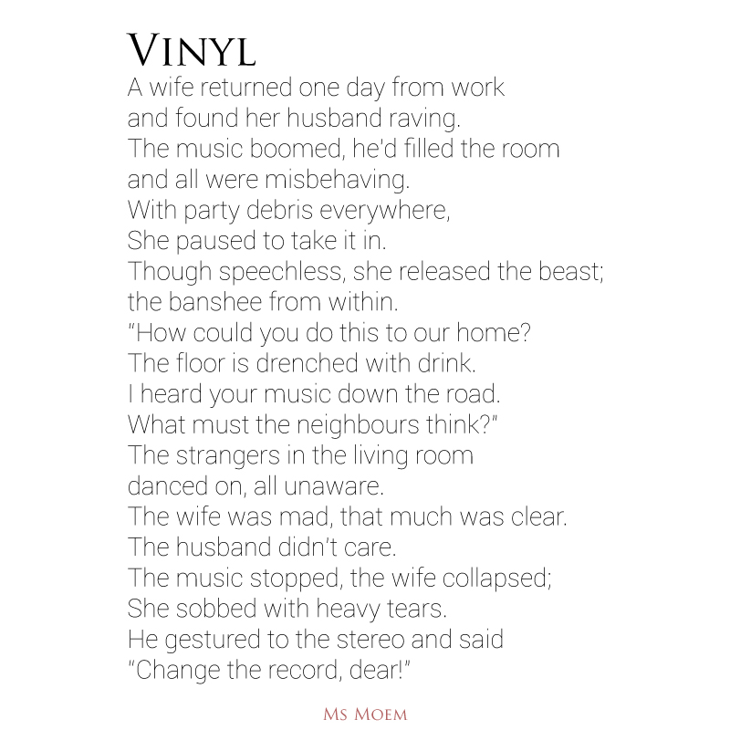 Vinyl - funny poem by ms moem