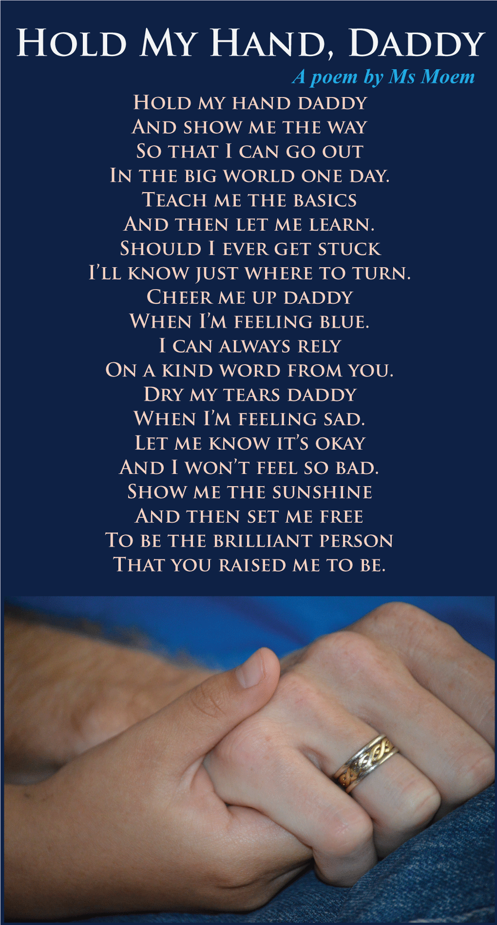 Hold my hand daddy poem for fathers day by msmoem