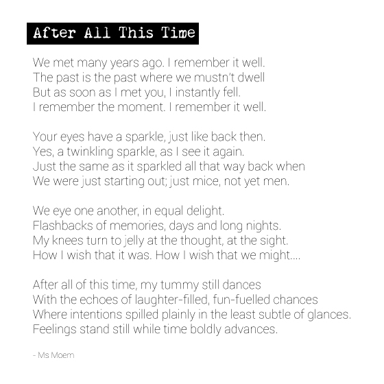 After All This Time - rhyming poem by Ms Moem