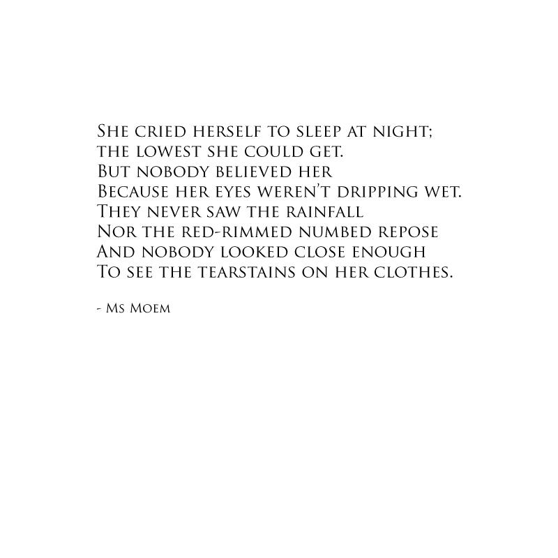 tearstains poem by Ms Moem
