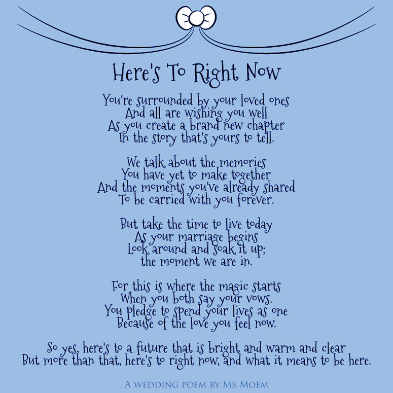here's to right now - wedding poem by contemporary english poet ms moem