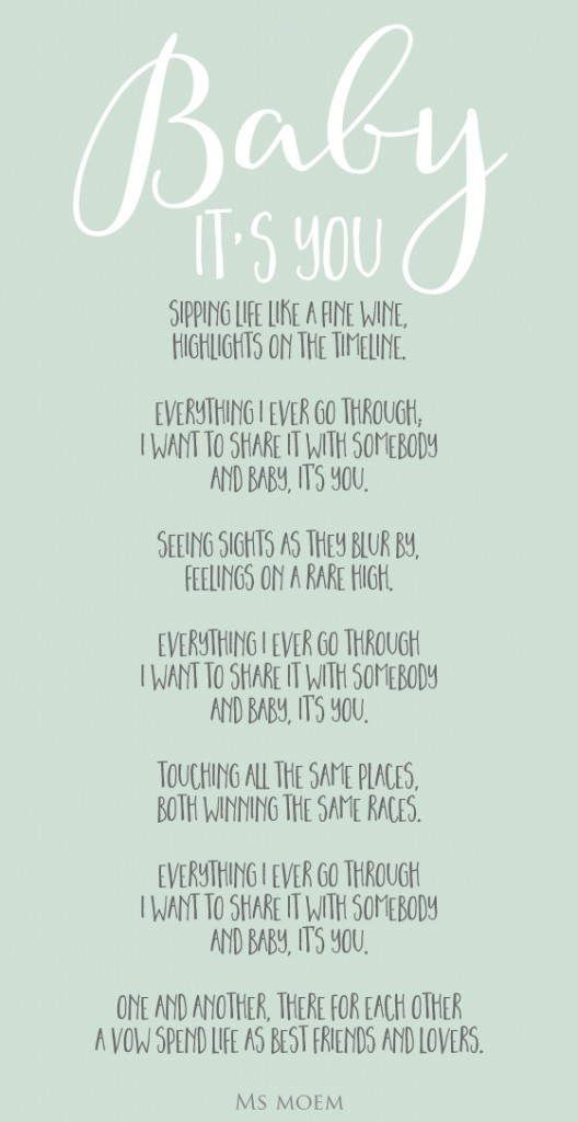 wedding poem ~ baby it's you ~ written by Ms Moem