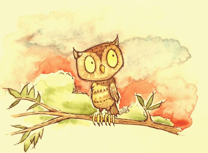 childrens picture book owl watercolour illustration by Tris Rossin ~ from a concept by Ms Moem