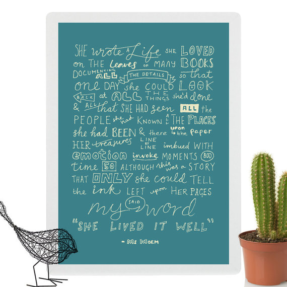 she wrote a life she loved hand lettered poem print available on etsy @msmoem