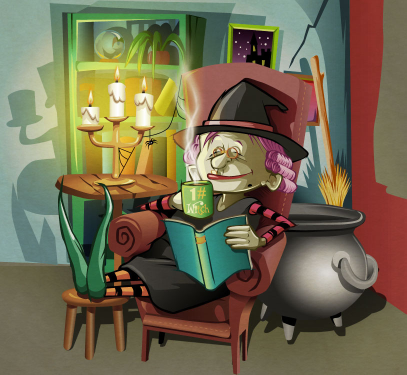 witch childrens picture book digital illustration by Tris Rossin work in progress ~ from a concept by Ms Moem