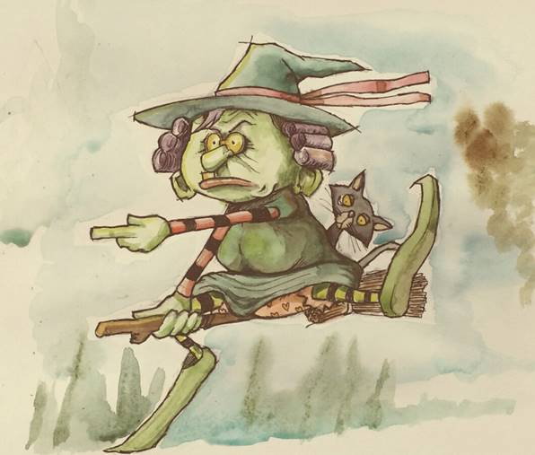witch childrens picture book watercolour illustration by Tris Rossin ~ from a concept by Ms Moem