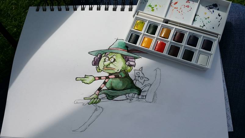 witch picture book watercolour illustration by Tris Rossin ~ concept by Ms Moem