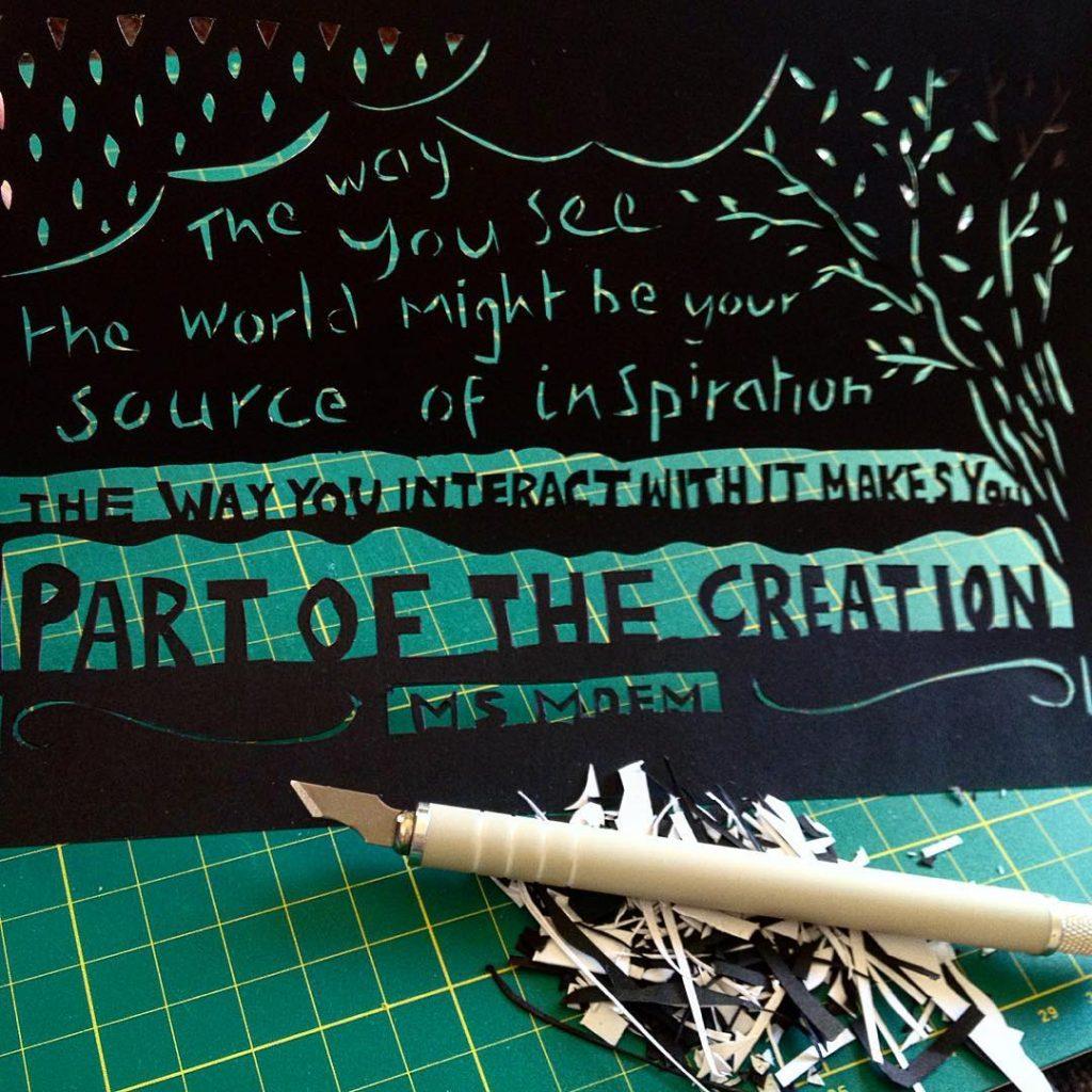 poem papercut ~ part of creation poem quote by Ms Moem