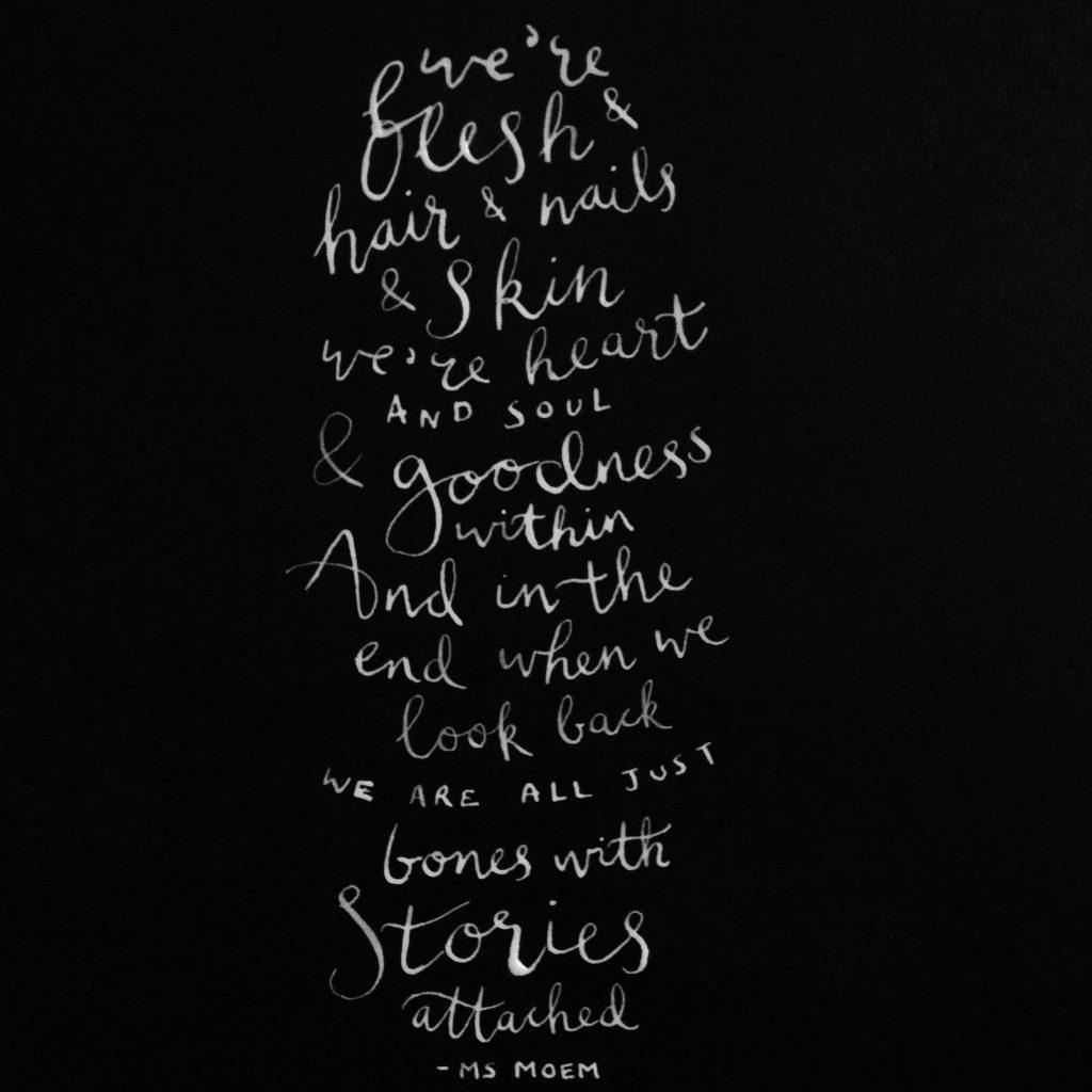 bones poem by Ms Moem - handlettered