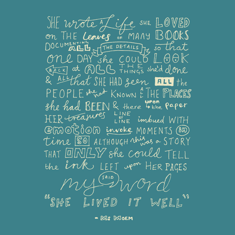 handlettered poems - she wrote a life she loved by ms moem @msmoem - modern calligraphy