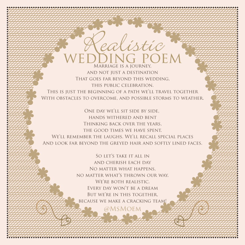 A Realistic Wedding Poem - written by Ms Moem @msmoem