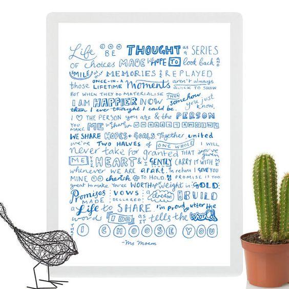 wedding poem print i choose you by ms moem @msmoem