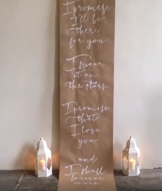 wedding poetry calligraphy wedding backdrop - poem by Ms Moem - design and styling by Suzanne Oddy