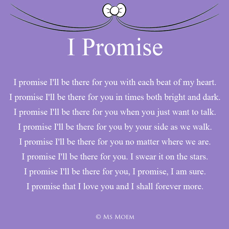 I Promise - romantic wedding poem by Ms Moem @msmoem - for more wedding poems visit msmoem.com