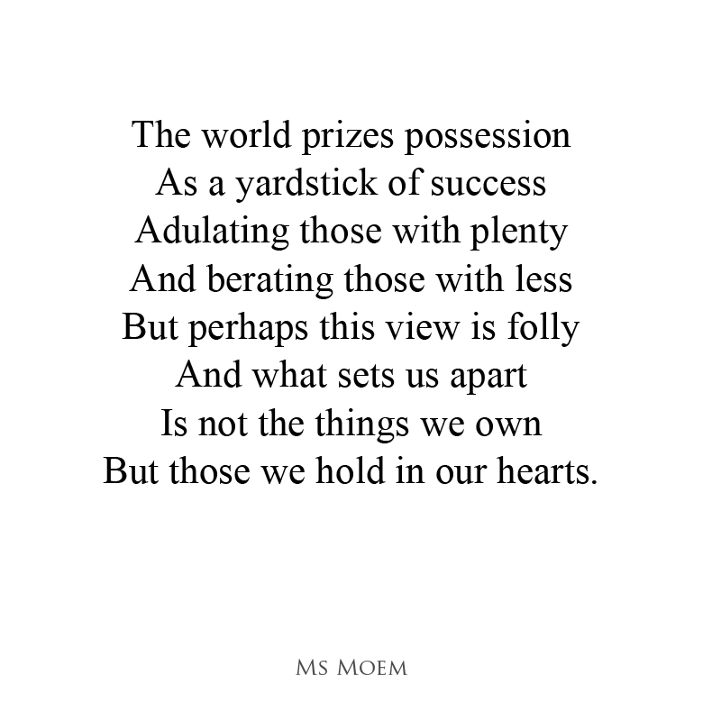 Out of our hands - a poem about what matters most in life by English poet Ms Moem @msmoem
