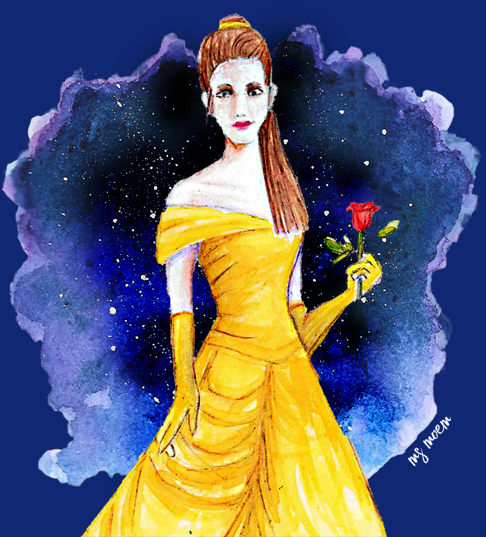 Belle Illustration - beauty and the beast inspired colour collective piece for the colour deep koamaru - illustration by Ms Moem @msmoem #colour_collective #artwork #galaxypainting
