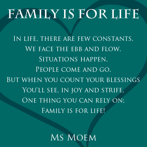 Family Is For Life | A Rhyming Poem | Ms Moem | Poems ...
