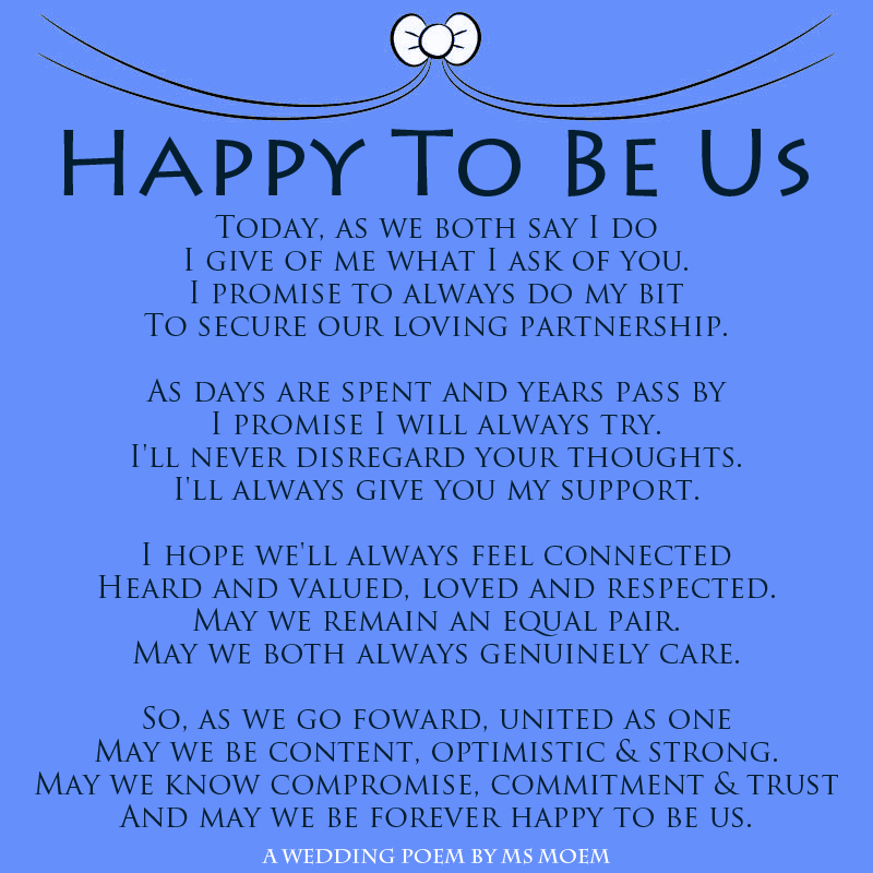 Happy To Be Us - A modern romantic wedding vows poem by English poet, Ms Moem. @msmoem