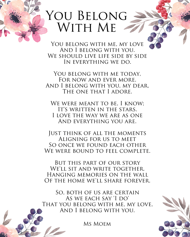 you belong with me - a wedding poem by Ms Moem @msmoem http://www.msmoem.com