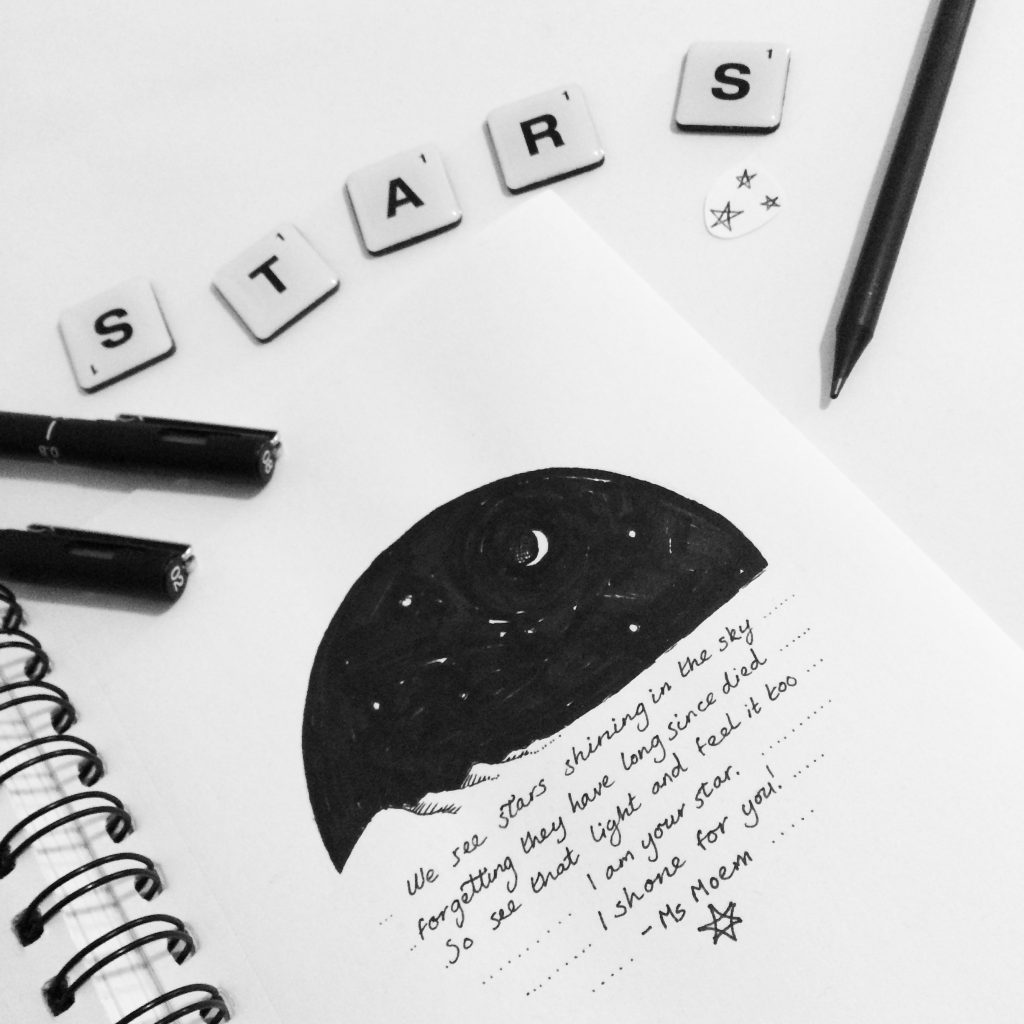 Stars and poetry black and white illustration