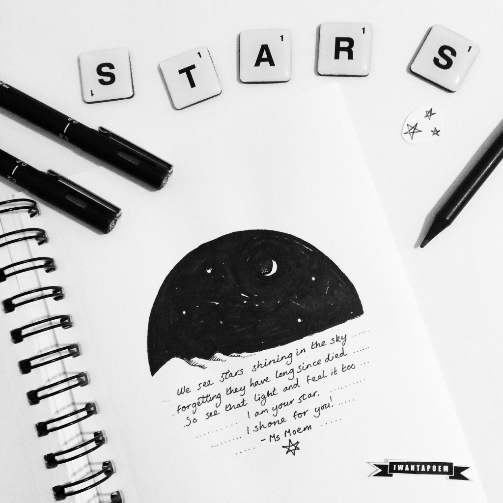 "Stars and verse ink illustration"" width="