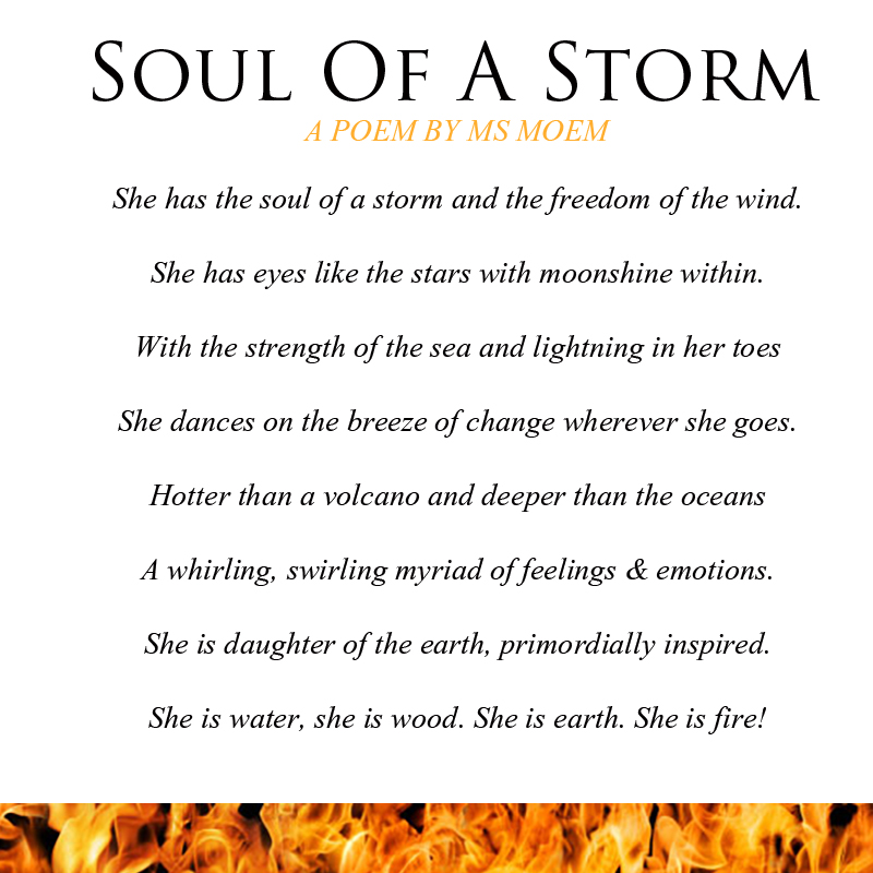 soul of a storm - short poem by English poet Ms Moem