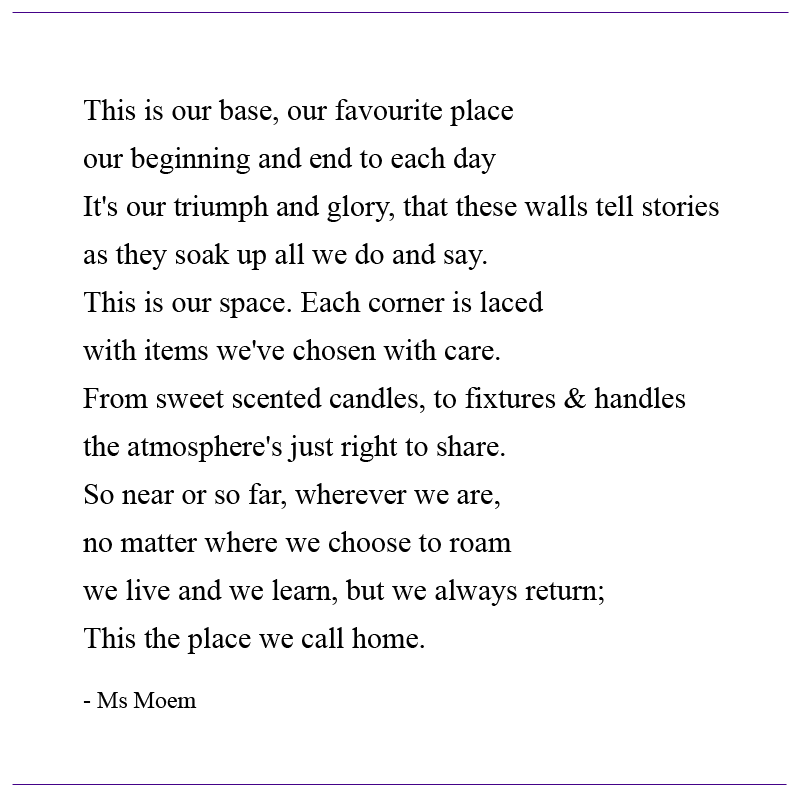 home poem by english poet Ms Moem