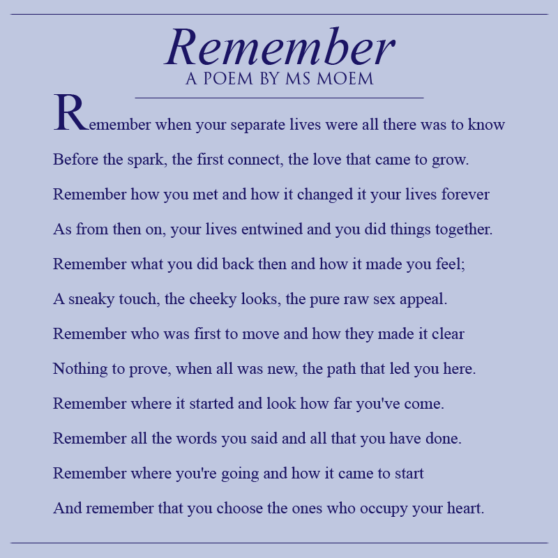 REMEMBER WEDDING POEM BY ENGLISH POET MS MOEM