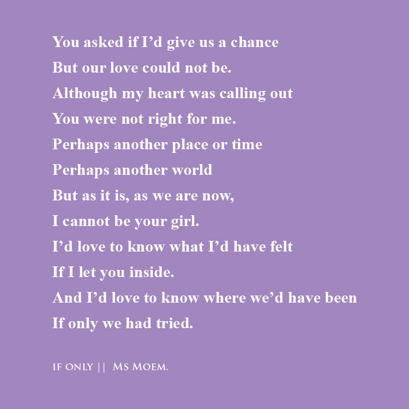 poem about unrequited love by english poet ms moem